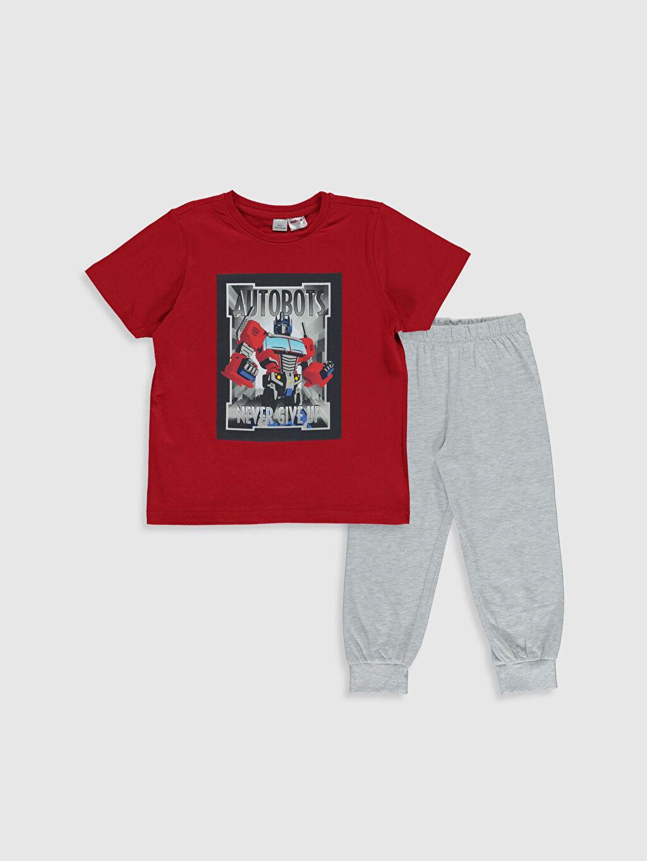 Gri Erkek Çocuk Transformers Baskılı Pijama Takımı 0S2658Z4 LC Waikiki