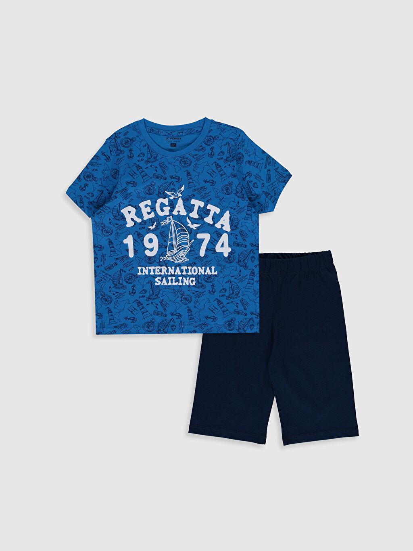 Lacivert Erkek Çocuk Baskılı Pamuklu Pijama Takımı 0S3094Z4 LC Waikiki