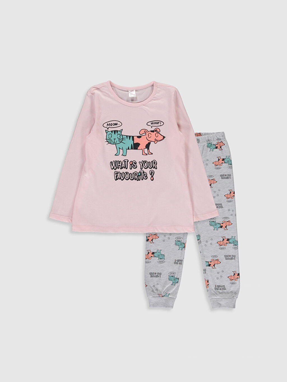 Pembe Kız Çocuk Baskılı Pamuklu Pijama Takımı 0S3107Z4 LC Waikiki