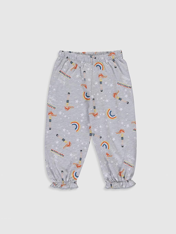 %49 Pamuk %51 Polyester Kız Çocuk Baskılı Pamuklu Pijama Takımı