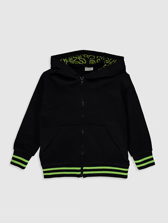 Siyah Erkek Çocuk Fermuarlı Kapüşonlu Sweatshirt 0S4089Z4 LC Waikiki