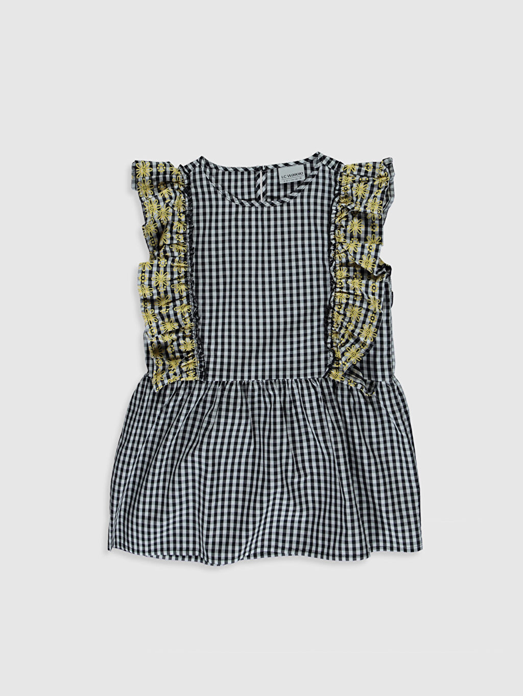 Siyah Kız Çocuk Fırfırlı Poplin Bluz 0S4447Z4 LC Waikiki