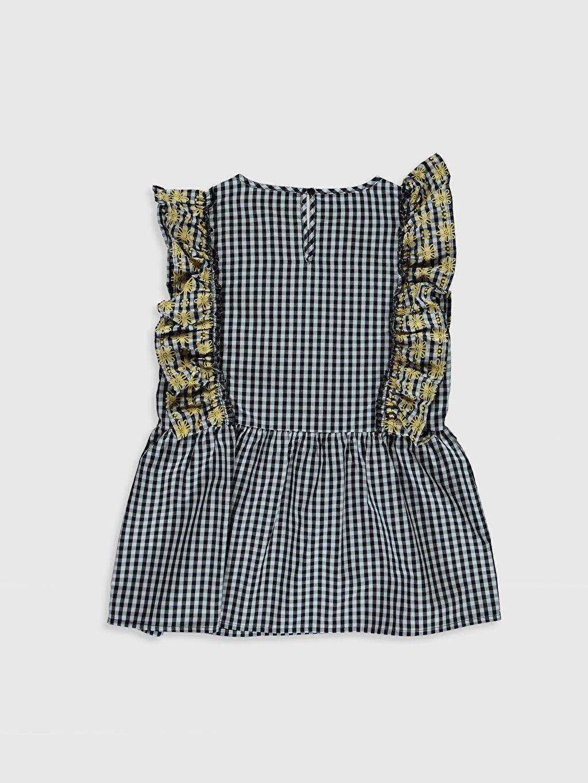 %100 Pamuk Ekoseli Kolsuz Bluz Standart Kız Çocuk Fırfırlı Poplin Bluz