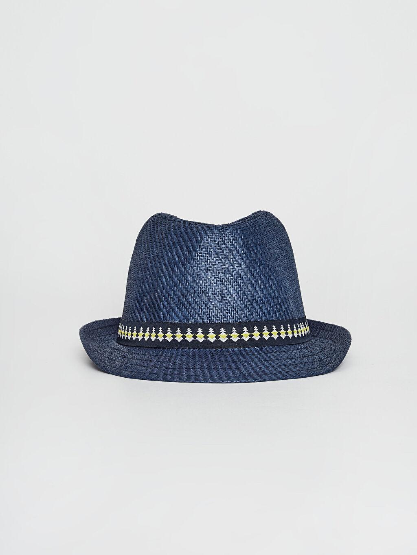 %100 Kağıt %100 Polyester Şapka Erkek Çocuk Biye Detaylı Hasır Fötr Şapka