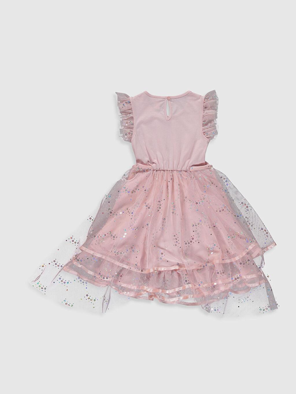 %100 Pamuk %100 Pamuk Mini Baskılı Kız Çocuk Tül Elbise