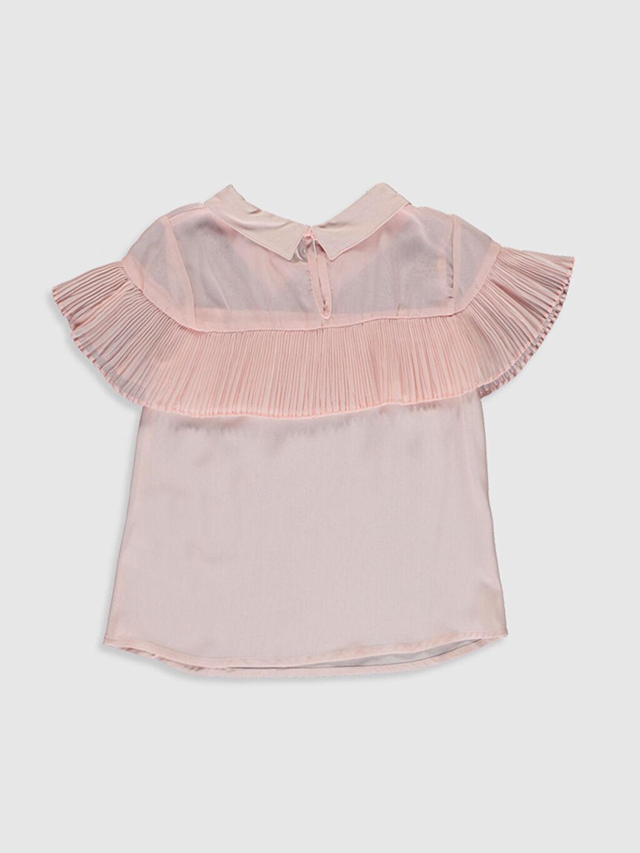 %100 Viskoz Standart Düz Kısa Kol Bluz Kız Çocuk Fırfır Detaylı Viskon Bluz
