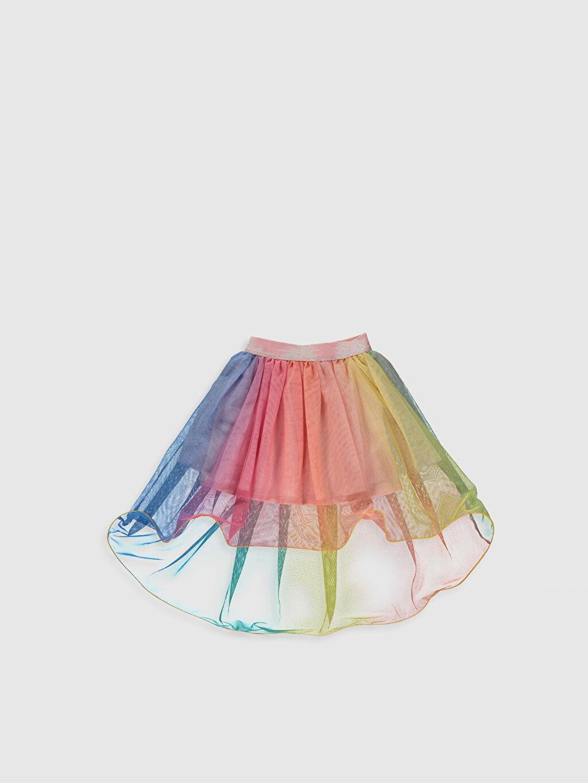 %100 Polyester %100 Polyester İnce Standart Etek Kloş Düz Tül Diz Üstü Kız Çocuk Tüllü Etek