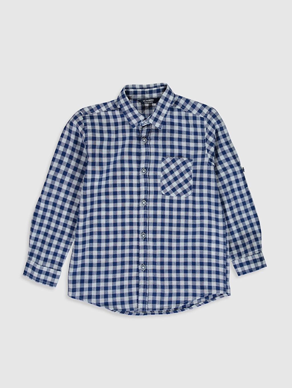 %100 Pamuk Standart Uzun Kol Aksesuarsız Gömlek Ekose %100 Pamuk Erkek Çocuk Ekose Gömlek