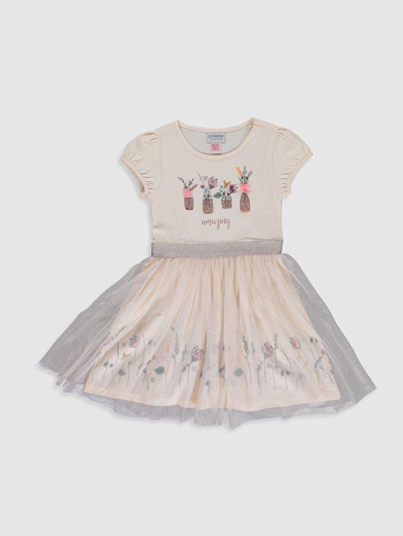 Bej Kız Çocuk Baskılı Tüllü Elbise 0S5197Z4 LC Waikiki