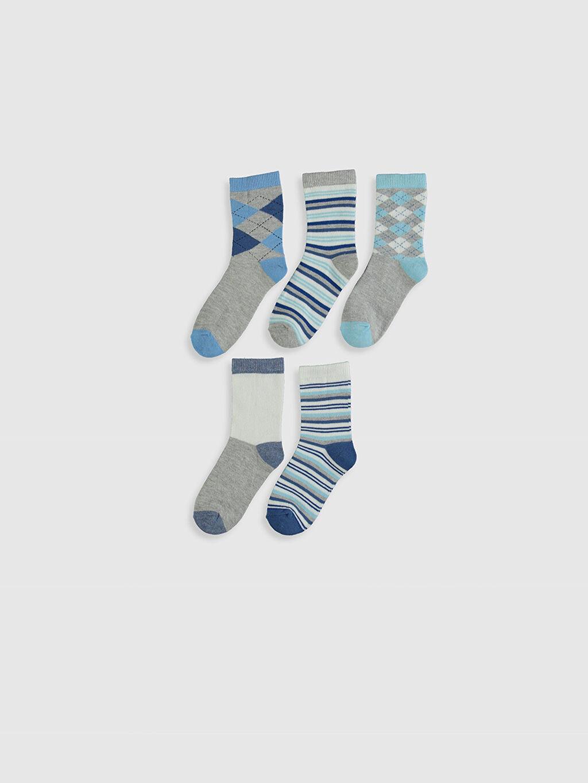 %76 Pamuk %5 Polyester %17 Poliamid %2 Elastan Soket Çorap Baklava Desenli Dikişli Erkek Çocuk Soket Çorap 5'li