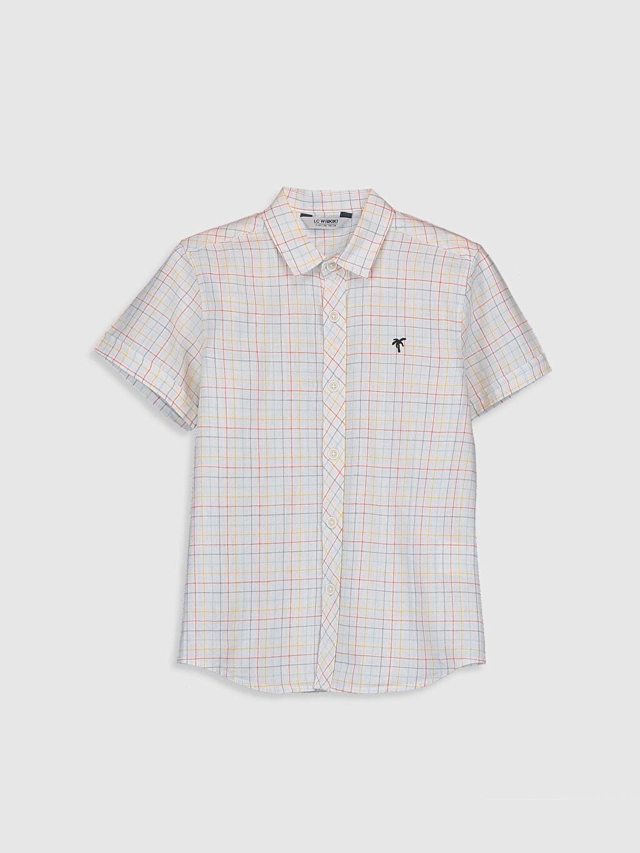 Beyaz Erkek Çocuk Ekose Poplin Gömlek 0S5238Z4 LC Waikiki