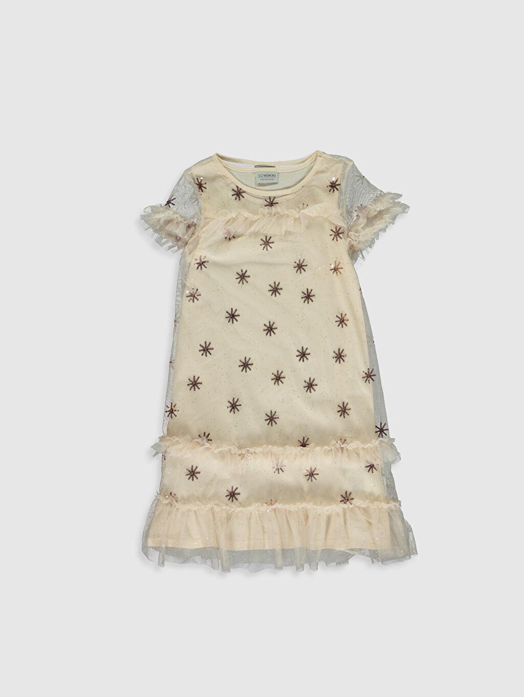 Bej Kız Çocuk Pul İşlemeli Tüllü Elbise 0S5439Z4 LC Waikiki