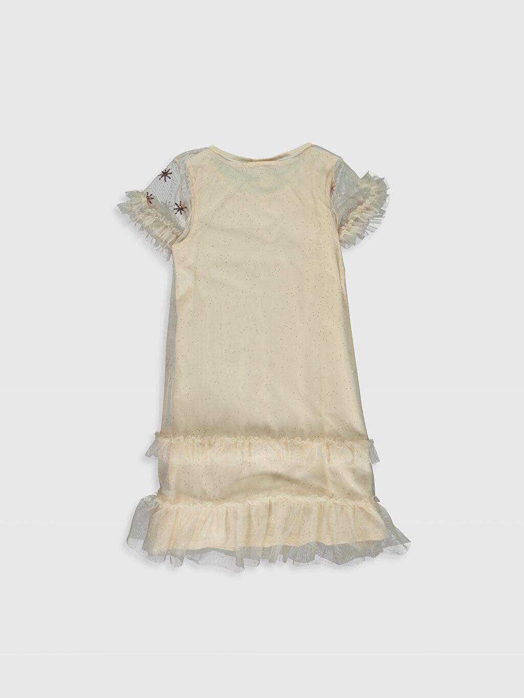 %100 Polyester Mini Baskılı Kız Çocuk Pul İşlemeli Tüllü Elbise