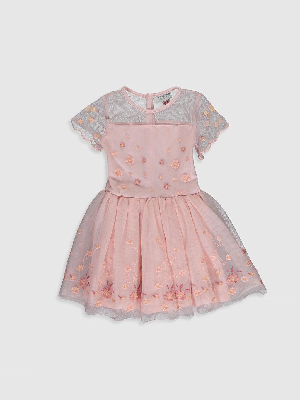 Pembe 23 Nisan Kız Çocuk Nakışlı Tüllü Elbise 0S5440Z4 LC Waikiki