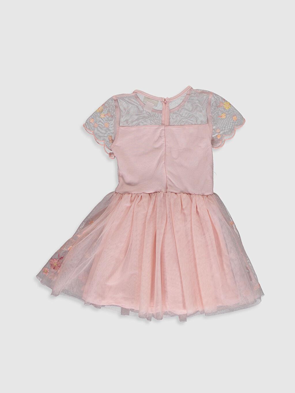 %100 Polyester %100 Pamuk Mini Baskılı 23 Nisan Kız Çocuk Nakışlı Tüllü Elbise