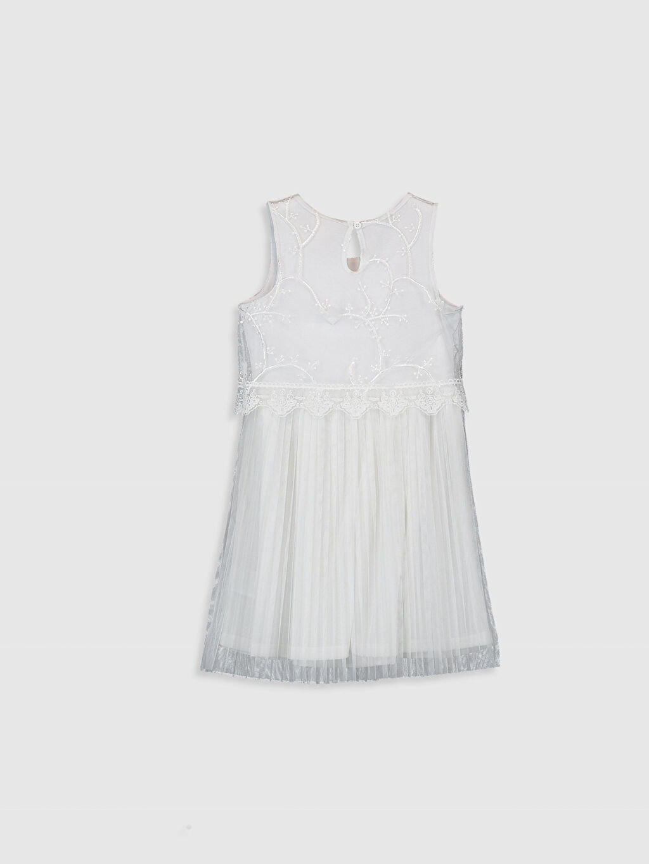 %100 Polyester %97 Pamuk %3 Elastan Elbise Tül Mini Bisiklet Yaka Plili Düz Kız Çocuk Dantelli Pileli Elbise
