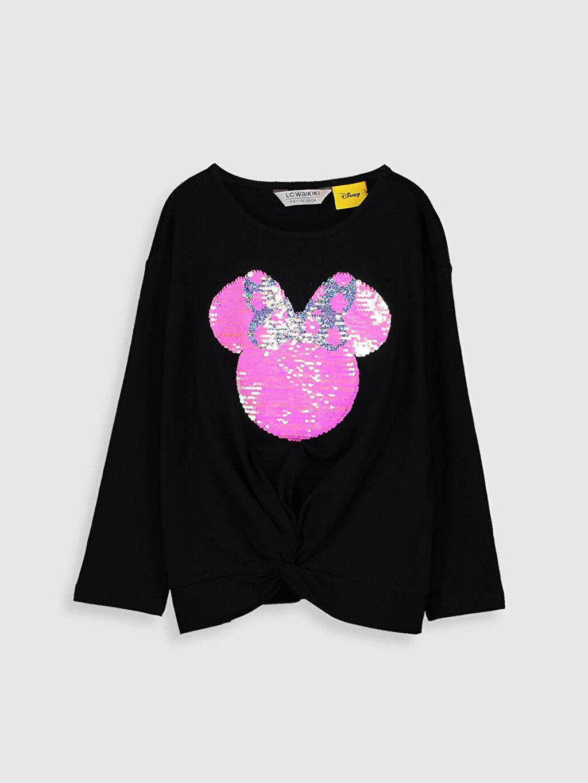 Siyah Kız Çocuk Minnie Mouse Çift Yönlü Payetli Pamuklu Tişört 0S6303Z4 LC Waikiki