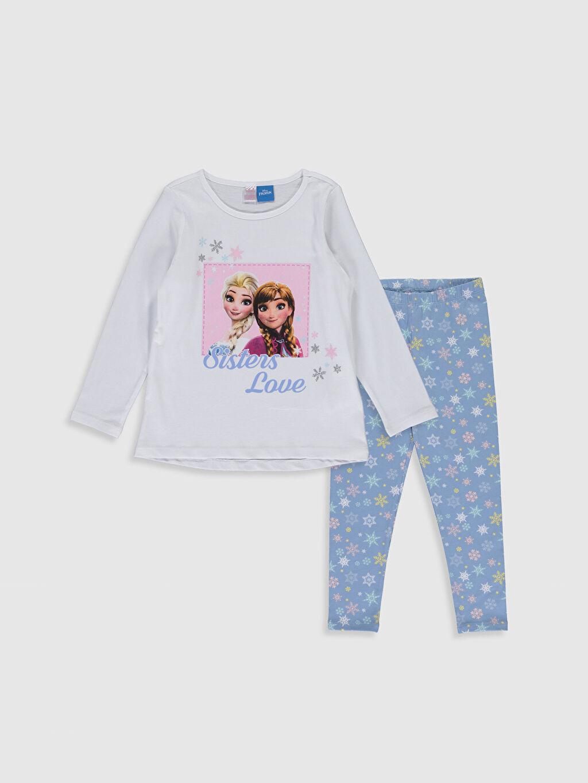 Beyaz Kız Çocuk Frozen Baskılı Pamuklu Pijama Takımı 0S6347Z4 LC Waikiki