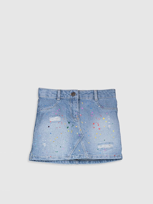 %100 Pamuk Aksesuarsız Normal Bel Jean Etek Düz Midi Kız Çocuk Baskılı Jean Etek