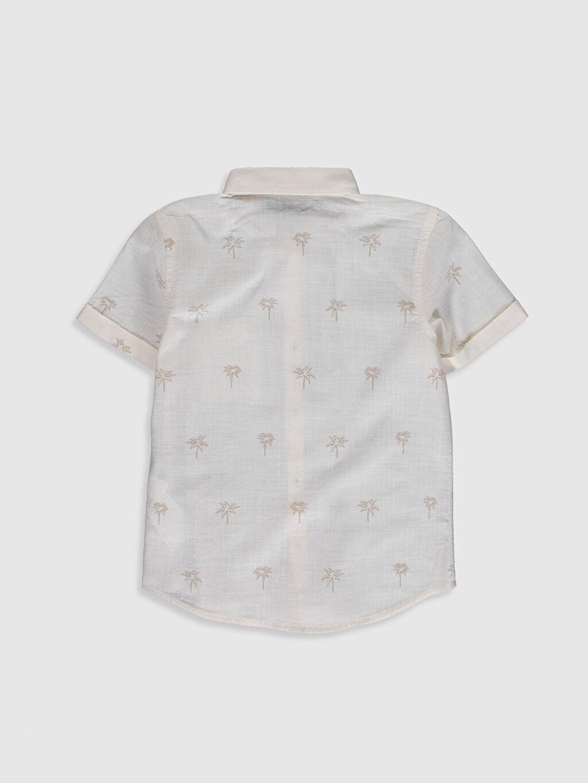%100 Pamuk Kısa Kol Poplin Aksesuarsız Gömlek Standart Baskılı Erkek Çocuk Desenli Poplin Gömlek