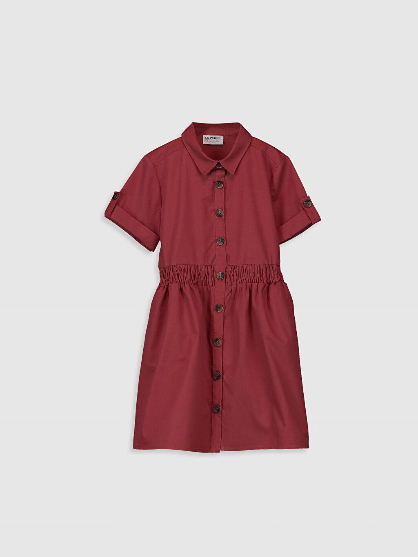 Kırmızı Kız Çocuk Gömlek Elbise 0S6816Z4 LC Waikiki