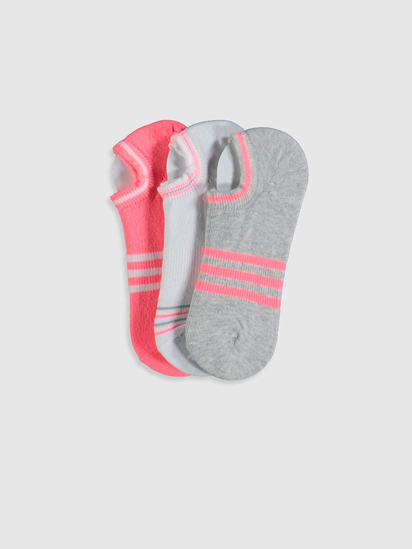 Gri Kız Çocuk Sneaker Çorap 3'lü 0S7009Z4 LC Waikiki