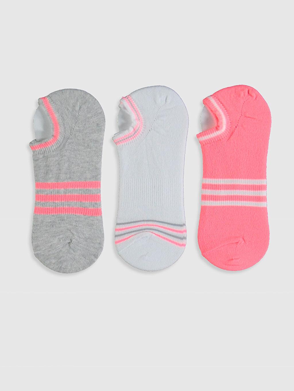 %68 Pamuk %8 Polyester %22 Poliamid %2 Elastan  Kız Çocuk Sneaker Çorap 3'lü