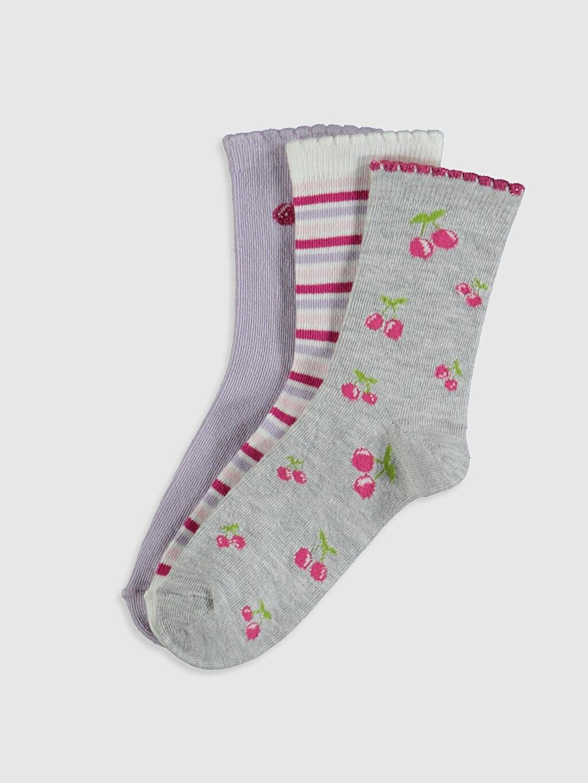 Gri Kız Çocuk Soket Çorap 3'lü 0S7402Z4 LC Waikiki
