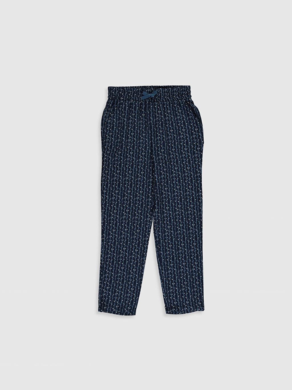 Lacivert Kız Çocuk Viskon Pantolon 0S8261Z4 LC Waikiki
