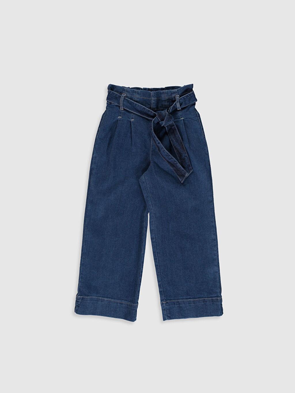 %98 Pamuk %2 Elastan Aksesuarsız Standart Normal Bel Astarsız Jean Geniş Paça Düz Kız Çocuk Jean Pantolon