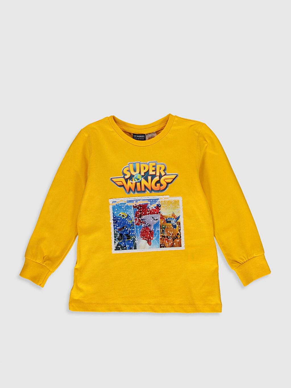 Sarı Erkek Çocuk Harika Kanatlar Pamuklu Tişört 0S9074Z4 LC Waikiki