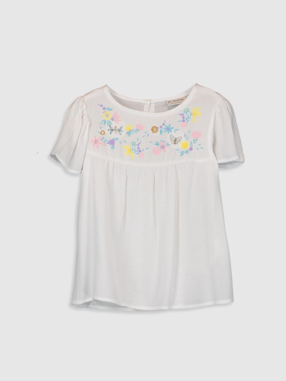 Beyaz Kız Çocuk Çiçekli Viskon Bluz 0S9122Z4 LC Waikiki