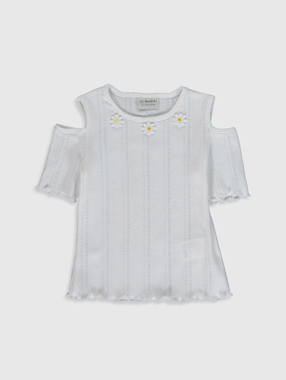 Beyaz Kız Çocuk Omuzu Açık Tişört 0S9262Z4 LC Waikiki