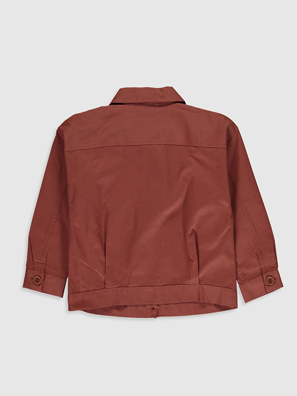 %100 Pamuk Düz Gömlek Yaka İnce Aksesuarsız Ceket Kız Çocuk Pamuklu Ceket