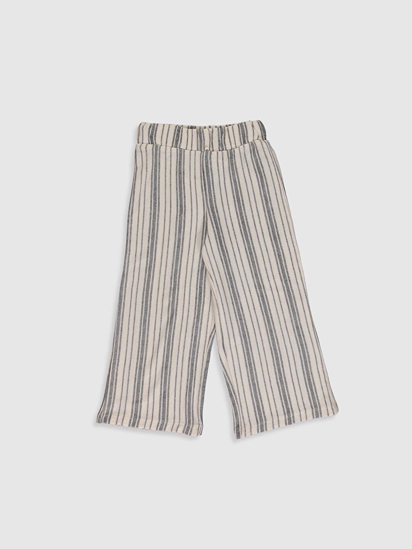 Siyah Kız Çocuk Çizgili Pantolon 0S9520Z4 LC Waikiki