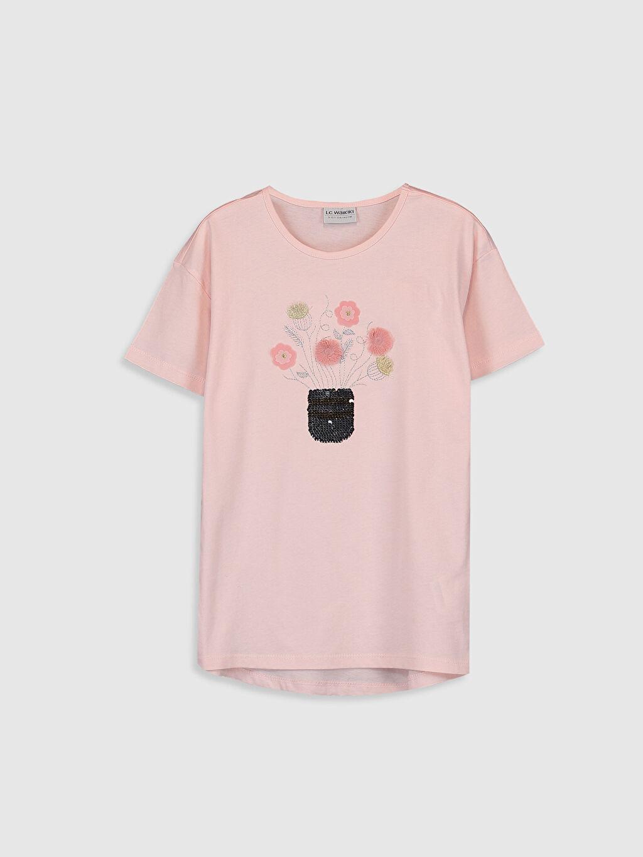 Pembe Kız Çocuk Nakışlı Pul İşlemeli Tişört 0S9523Z4 LC Waikiki