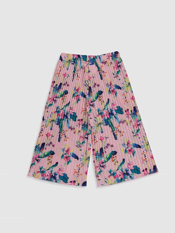 %100 Polyester Eşofman Altı Süprem Standart Baskılı Normal Bel Kız Çocuk Pileli Pantolon