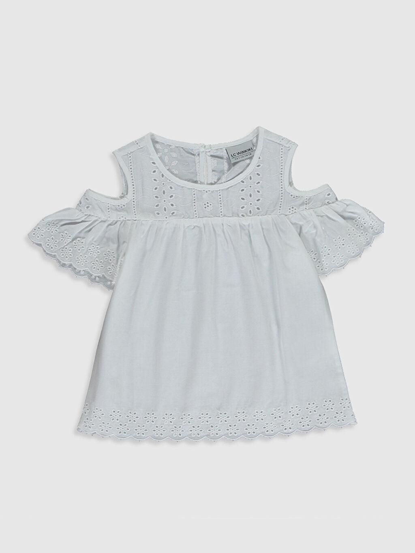 Beyaz Kız Çocuk Omuzu Açık Poplin Bluz 0S9613Z4 LC Waikiki