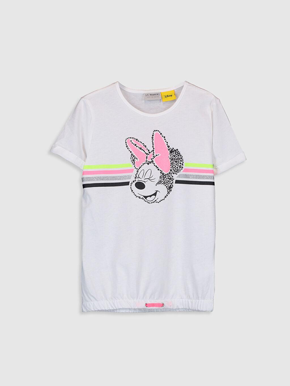 Beyaz Kız Çocuk Minnie Mouse Baskılı Pamuklu Tişört 0S9632Z4 LC Waikiki