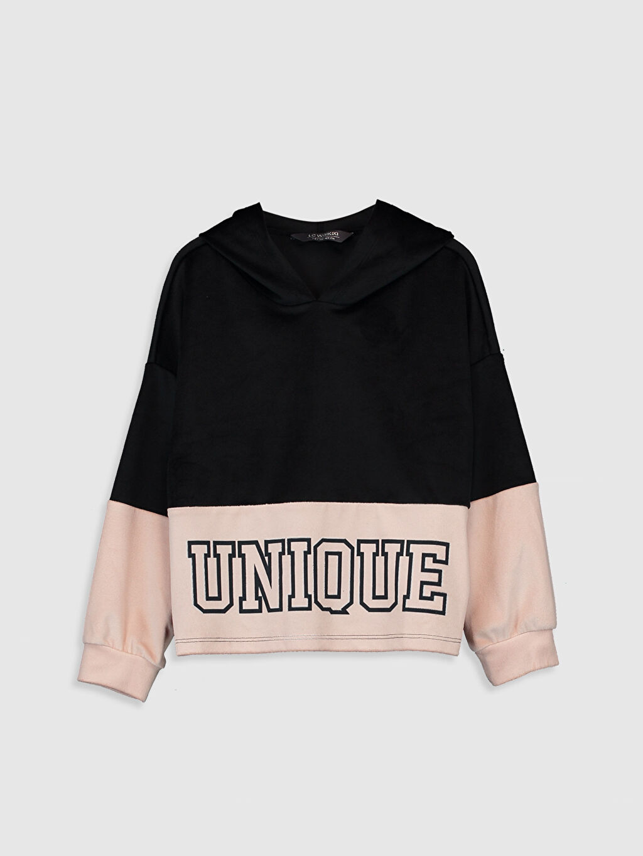 Siyah Kız Çocuk Baskılı Sweatshirt 0S9747Z4 LC Waikiki