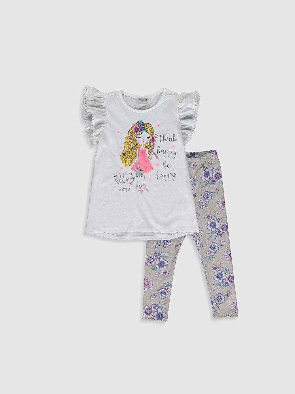 Beyaz Kız Çocuk Pamuklu Tişört ve Tayt 0S9912Z4 LC Waikiki