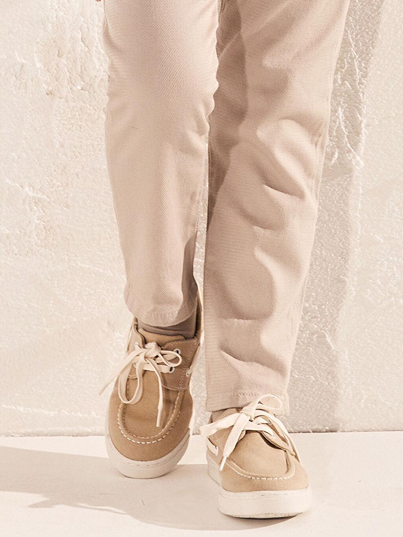 Bej Erkek Çocuk 31-38 Numara Bağcıklı Bez Ayakkabı 0SG207Z4 LC Waikiki