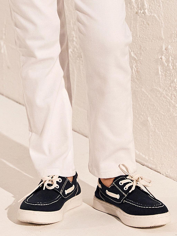 Lacivert Erkek Çocuk 25-30 Numara Bağcıklı Bez Ayakkabı 0SG209Z4 LC Waikiki