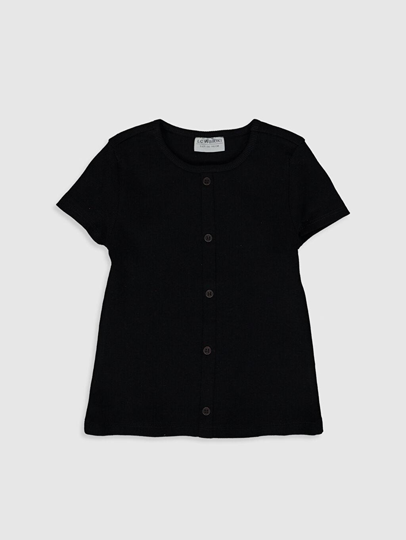 Siyah Kız Çocuk Düğme Detaylı Pamuklu Tişört 0SG548Z4 LC Waikiki
