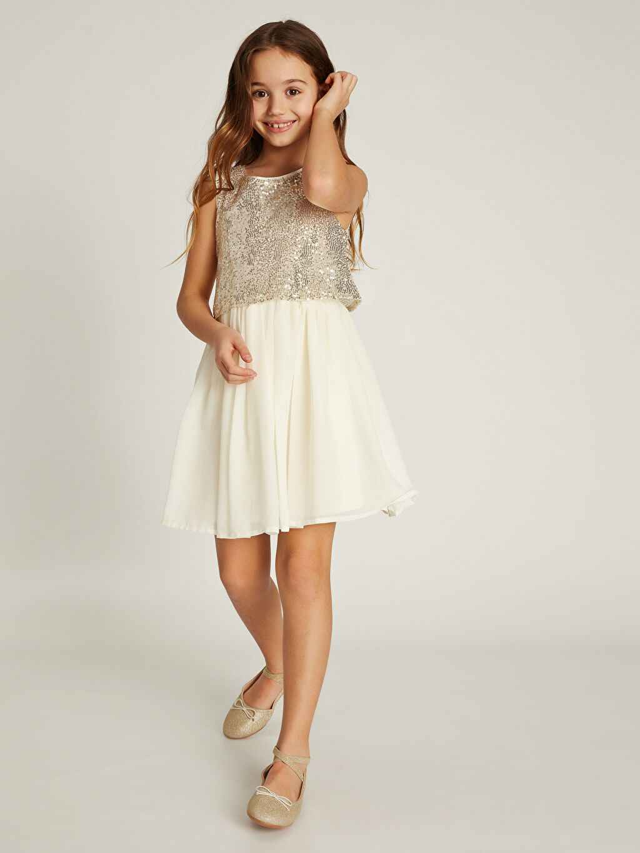 %100 Polyester %100 Pamuk Şifon Düz Elbise Kız Çocuk Pul Payet İşlemeli Elbise