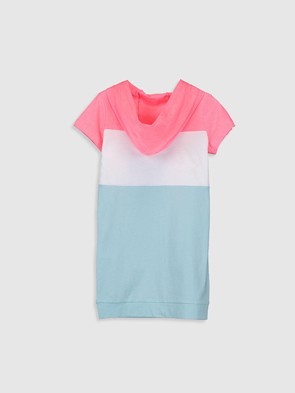 %100 Pamuk Diz Üstü Desenli Kız Çocuk Baskılı Kapüşonlu Elbise