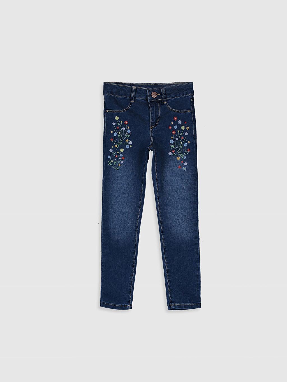 İndigo Kız Çocuk Çiçek Nakışlı Skinny Jean Pantolon 0SI376Z4 LC Waikiki