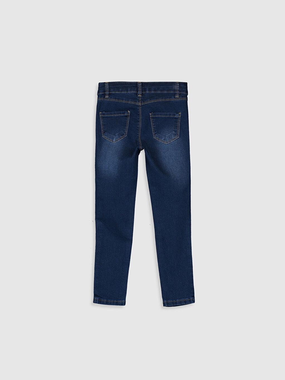 %79 Pamuk %18 Polyester %3 Elastan Normal Bel Standart Kız Çocuk Çiçek Nakışlı Skinny Jean Pantolon