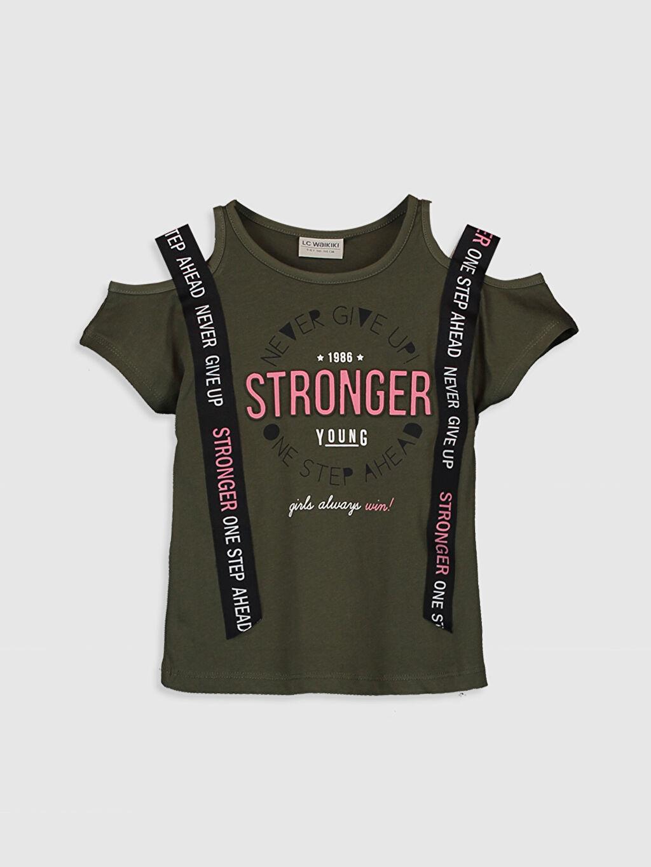 Haki Kız Çocuk Baskılı Pamuklu Tişört 0SI664Z4 LC Waikiki