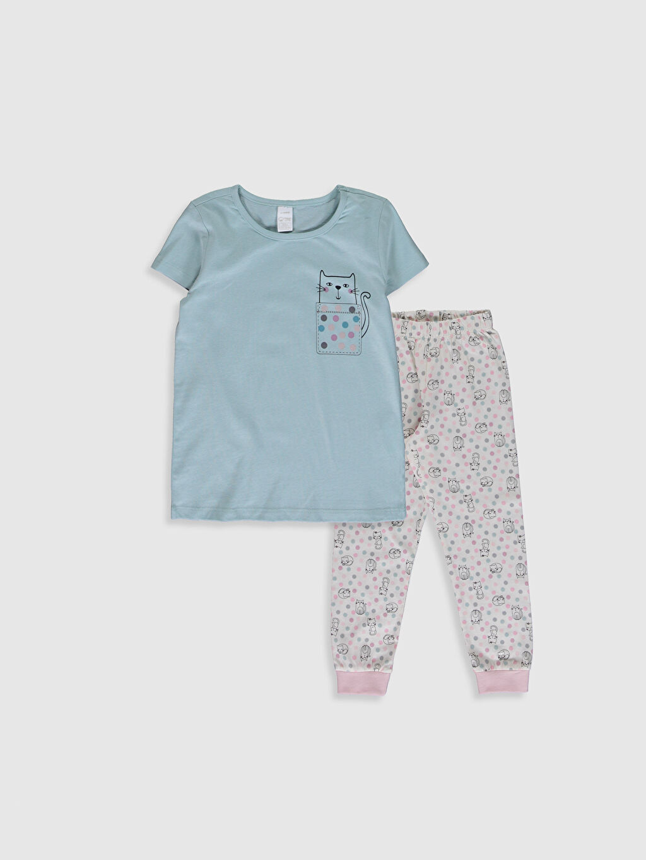 Yeşil Kız Çocuk Baskılı Organik Pamuklu Pijama Takımı 0SI910Z4 LC Waikiki